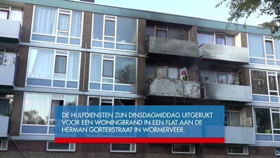 Flatwoning in Wormerveer volledig uitgebrand na kortsluiting
